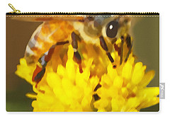 Bee On A Yellow Flower Carry-all Pouch by Marian Cates