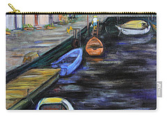 Carry-all Pouch featuring the painting Boats In Front Of The Buildings IIi by Xueling Zou