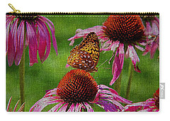 Butterfly And Cone Flowers Carry-all Pouch