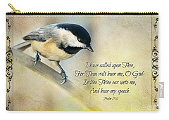 Chickadee With Verse Carry-all Pouch by Debbie Portwood