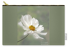 Cosmos Flower In White Carry-all Pouch by Kaye Menner
