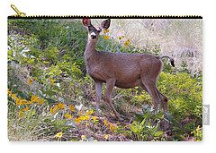 Deer In Wildflowers Carry-all Pouch by Athena Mckinzie
