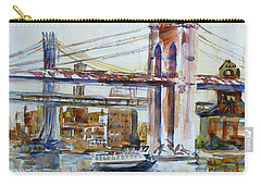 Carry-all Pouch featuring the painting Downtown Bridge by Xueling Zou