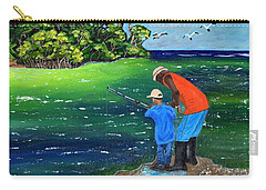 Carry-all Pouch featuring the painting Fishing Buddies by Laura Forde