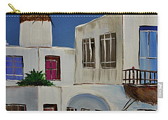 Carry-all Pouch featuring the painting Greek Village by Janice Rae Pariza