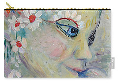 Carry-all Pouch featuring the painting Lady In The Waterfall by Avonelle Kelsey