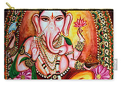 Carry-all Pouch featuring the painting Lord Ganesha by Harsh Malik
