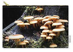 Mushrooms On A Stump Carry-all Pouch by Chalet Roome-Rigdon