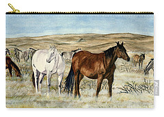 Carry-all Pouch featuring the painting Nine Horses by Melly Terpening