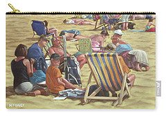 Carry-all Pouch featuring the painting people on Bournemouth beach by Martin Davey