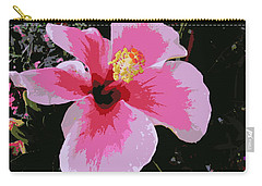 Carry-all Pouch featuring the photograph Pink Hibiscus Pop Art by Dora Sofia Caputo Photographic Art and Design