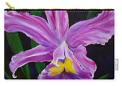 Carry-all Pouch featuring the painting Purple Orchid by Jenny Lee