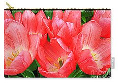 Carry-all Pouch featuring the photograph Tulips Radiant In Pink by Dora Sofia Caputo Photographic Art and Design