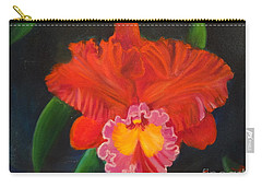 Carry-all Pouch featuring the painting Red Orchid by Jenny Lee