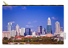 Carry-all Pouch featuring the photograph Skyline Of Uptown Charlotte North Carolina At Night by Alex Grichenko
