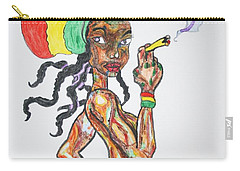 Carry-all Pouch featuring the painting Smoking Rasta Girl by Stormm Bradshaw