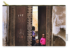 Carry-all Pouch featuring the photograph Kids Playing Zanzibar Unguja Doorway by Amyn Nasser
