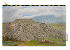 Carry-all Pouch featuring the painting Tucumcari Mountain Reflections On Route 66 by Sheri Keith