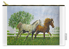 Two Horses Running By White Picket Fence Carry-all Pouch