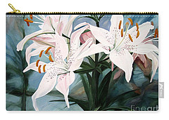 Carry-all Pouch featuring the painting White Lilies by Laurie Rohner