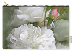 Carry-all Pouch featuring the photograph White Roses Bouquet by Jennie Marie Schell
