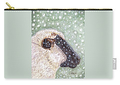 Carry-all Pouch featuring the painting Wishing Ewe A White Christmas by Angela Davies