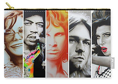 Jimi Hendrix, Kurt Cobain, And Amy Winehouse Collage - '27 Eternal' Carry-all Pouch by Christian Chapman Art
