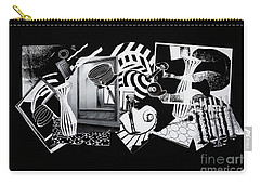 Carry-all Pouch featuring the mixed media 2d Elements In Black And White by Xueling Zou