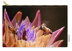 Carry-all Pouch featuring the photograph Bees In The Artichoke by AJ  Schibig