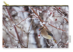 Carry-all Pouch featuring the photograph Cedar Waxwing by Michael Chatt