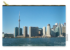 Cn Tower Toronto View From Centre Island Downtown Panorama Improvised With Graphic Artist Tools Pain Carry-all Pouch by Navin Joshi