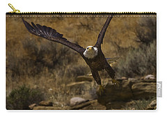 Carry-all Pouch featuring the photograph Eagle Lift Off by J L Woody Wooden