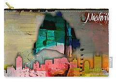 Nashville Skyline And Map Watercolor Carry-all Pouch by Marvin Blaine