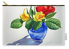Carry-all Pouch featuring the painting Roses by Irina Sztukowski