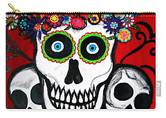 Carry-all Pouch featuring the painting 3 Skulls by Pristine Cartera Turkus