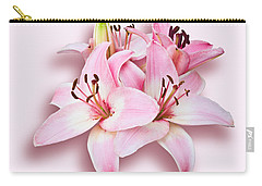 Spray Of Pink Lilies Carry-all Pouch by Jane McIlroy
