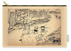 Carry-all Pouch featuring the drawing Tammy  Meets Cedric The Mongoose by Reynold Jay