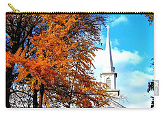 Carry-all Pouch featuring the photograph The Little White Church by Dora Sofia Caputo Photographic Art and Design