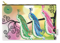 Carry-all Pouch featuring the digital art Visionary Peacocks by Kim Prowse