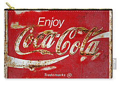 Coca Cola Vintage Rusty Sign Black Border Carry-all Pouch