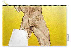 Carry-all Pouch featuring the drawing Olympic Athletics Discus Throw by Greta Corens