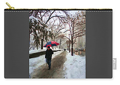 Carry-all Pouch featuring the digital art Snowfall In Central Park by Deborah Boyd
