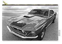 428 Cobra Jet Mach1 Ford Mustang 1969 In Black And White Carry-all Pouch