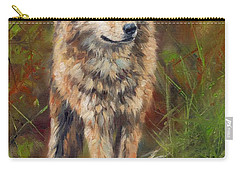 Grey Wolf Carry-all Pouch by David Stribbling