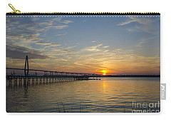 Carry-all Pouch featuring the photograph Arthur Ravenel Bridge Tranquil Sunset by Dale Powell