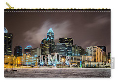 Carry-all Pouch featuring the photograph Charlotte Queen City Skyline Near Romare Bearden Park In Winter Snow by Alex Grichenko