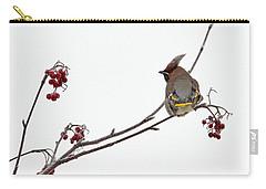 Bohemian Waxwings Eating Rowan Berries Carry-all Pouch by Jouko Lehto