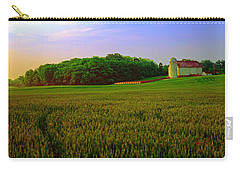 Carry-all Pouch featuring the photograph  Conley Rd Spring Pasture Oaks And Barn  by Tom Jelen