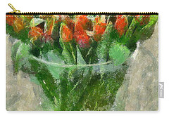 Carry-all Pouch featuring the painting A Bouquet Of Tulips by Dragica  Micki Fortuna