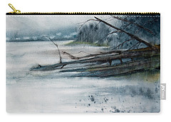 Carry-all Pouch featuring the painting A Cold And Foggy View by Jani Freimann